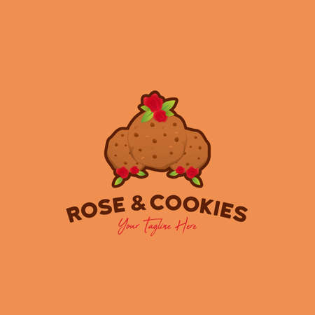 Rose and cookies logo icon illustration of delicious three cookies with fresh red rose flower
