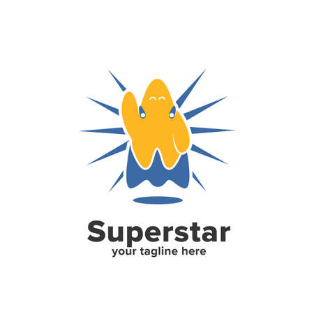 Yellow and blue cape flying super star logo icon mascot character symbol Illustration