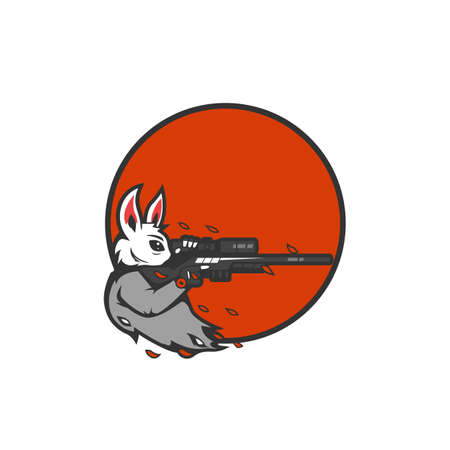 Rabbit the marksman sniper aiming logo icon for esport gaming gamer team or tshirt illustration