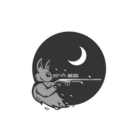 Moon rabbit marksman sniper illustration for gamer gaming esport logo in grayscale monochrome color style
