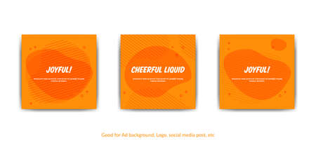 Cheerful joyful background. Set of vector orange memphis style background for covers, greeting card, social media post, poster, banner or flyer