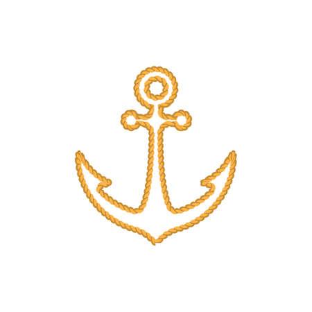Rope in ship anchor shape logo illustration Illusztráció