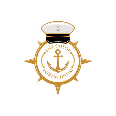 The sailor compass anchor with captain hat badge logo template