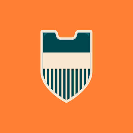 Stripes simple blank shield badge template in vintage color