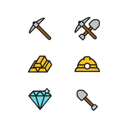 Mining Miner flat icon set with helmet, pick axe, shovel, shining diamond, and gold