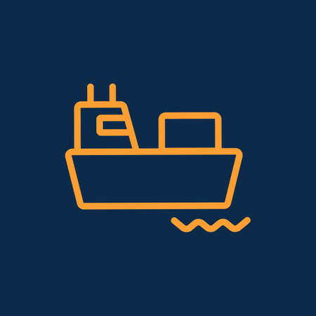 Simple cargo or container ship logistic transportation line icon