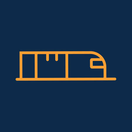 Simple cargo or container fast train logistic transportation line icon