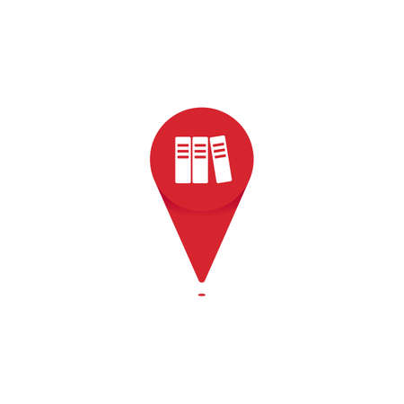 Book store or library pin poin icon logo for map location vector