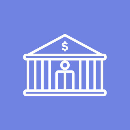 Central or city bank line icon