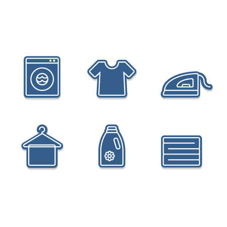 Laundry icon set with iron, tshirt, detergent, clothes stack, hanger and wash machine cutout sticker icon style
