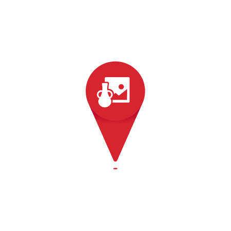 Antique gallery shop store pin point icon logo for map location vector