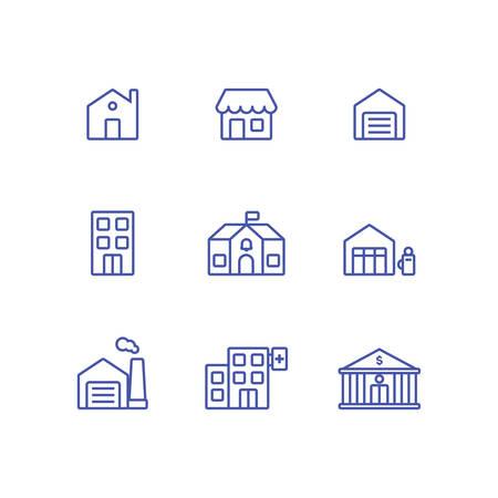 Définir la collection d'icônes de construction de ville. Icône de banque, maison, garage, magasin, station-service, école, hôpital, usine et bureau