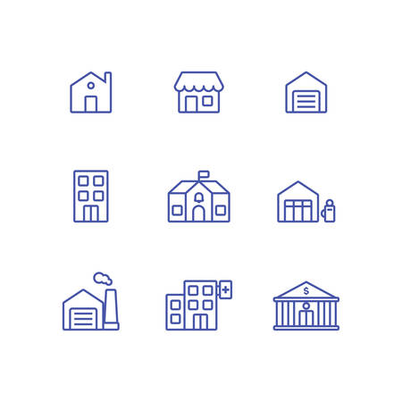 Set town builing icon collection. Bank, house, garage, shop, gas station, school, hopital, factory, and office icon Illustration
