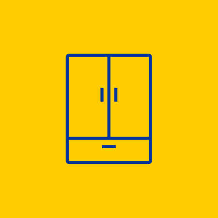Blue Cupboard Wardrobe dresser line icon on yellow background Vectores