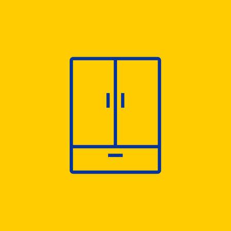 Blue Cupboard Wardrobe dresser line icon on yellow background 일러스트