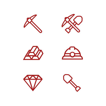 Miner mining icon with helmet, shovel, pickaxe, diamond, and gold outline icon set