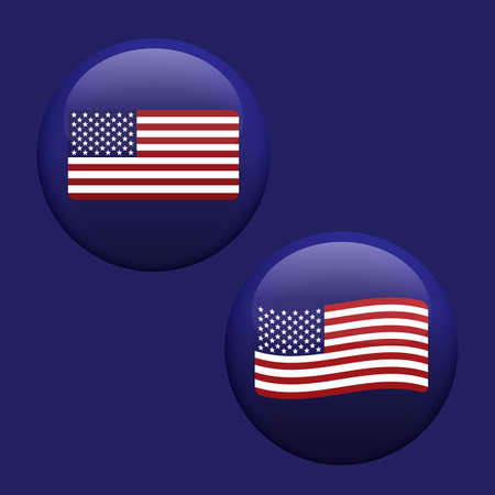 American USA waving flag set inside blue glossy bubble button effect