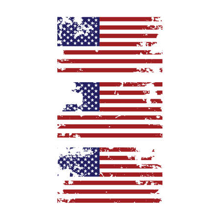 Grunge torn united states of america american flag icon design element for 4th of july independence day set