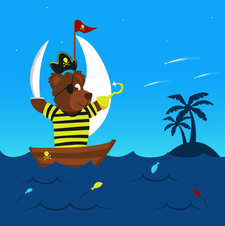 funny pirate bear on his boat sailing the sea reaching the land for adventure with some colorful jumping fish