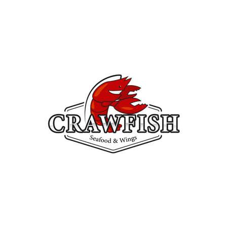 Crawfish lobster seafood bistro restaurant logo icon symbol with mascot character illustration Illustration