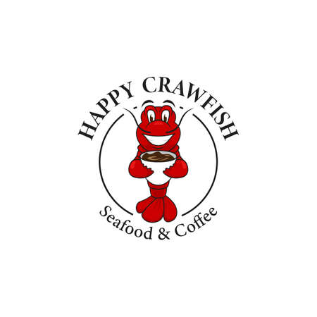Happy crawfish with coffee logo mascot, red crawfish lobster illustration smiles hold cup, seafood and coffee logo