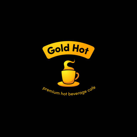 Hot gold cup coffee logo icon with gradient gold premium color for premium caffee beverages shop