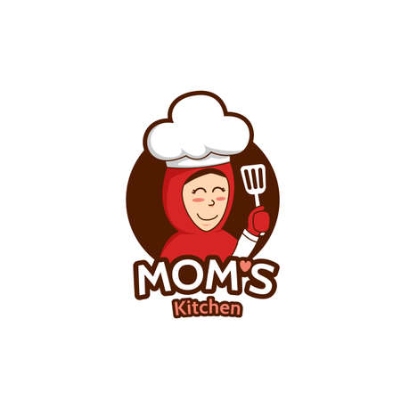 Mommy mom kitchen logo with female Muslim mother mascot character illustration holding spatula wears hijab Stock Illustratie