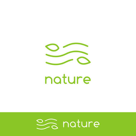 Simple clean air wind wave nature logo with minimal line outline monoline icon symbol of leaf and wind Standard-Bild - 124854728