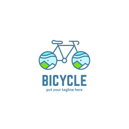 Bicycle adventure outdoor logo icon, monoline line style bike bicycle logo with mountain landscape on the wheel