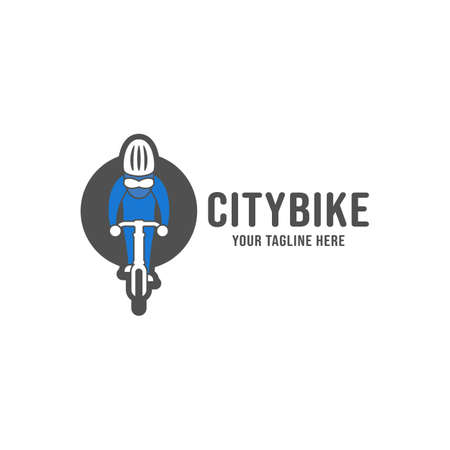 Bicycle enthusiast community logo, bicycle cyclist cycling riding logo icon illustration with bike rider Çizim