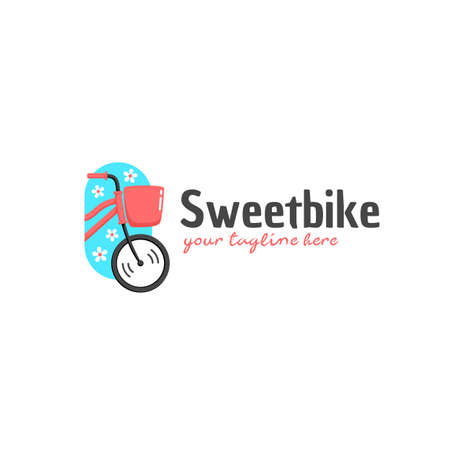 Sweetbike sweet and cute pink woman bicycle logo icon illustration in cartoon graphic style
