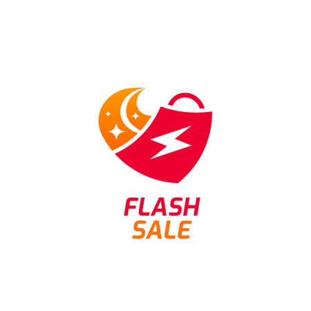 Flash sale logo icon with fast moving shoping bag logo
