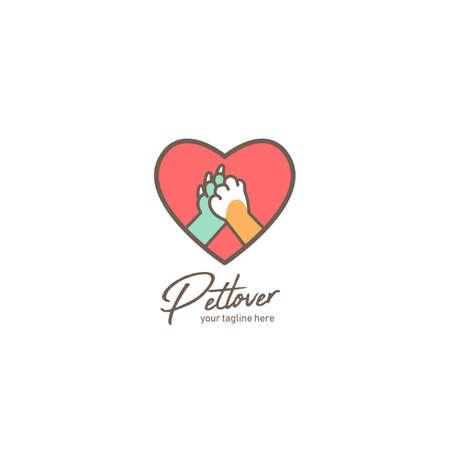 Logo dell'amante degli animali domestici, logo del negozio di animali o del rifugio con zampa di cane e gatto ciao cinque icona dell'amore dentro l'amor