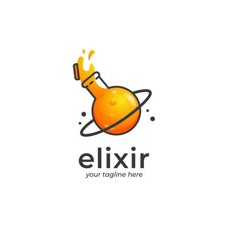 Spilled elixir logo, spilled orange potion logo with planet shape glass container with ring in cartoon style illustration