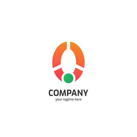 Abstract orange o logo company with green dot and three cut on the letter O
