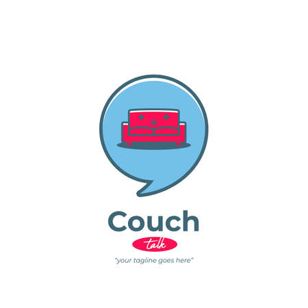 Sofa couch talk logo with comfy living room couch icon inside bubble speak speech fun playful style Иллюстрация