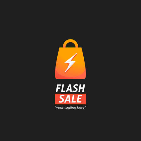 Instant Flash sale marketplace logo with shopping bag icon with thunder lightning