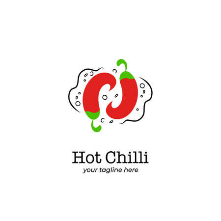 Spicy hot chilli pepper logo icon symbol in circle rotation circulation formation shape
