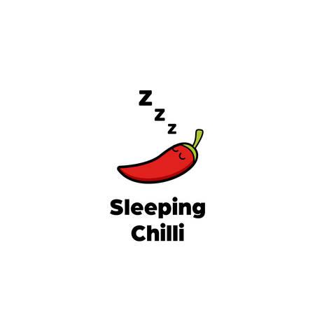 Sleeping chilli pepper logo icon cartoon comic style icon mascot