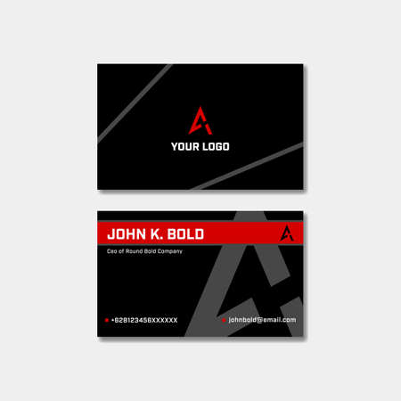 Red black bold style business visit card name card design for modern serious optimistic energetic secure company Banque d'images - 129069078