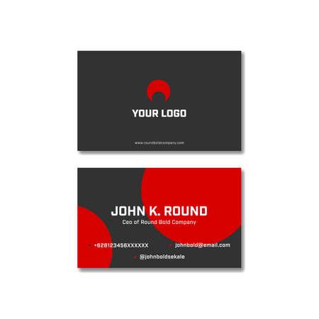 Red black round bold business name visit card vector design Banque d'images - 129069079