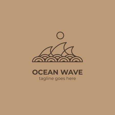 logotipo de la onda del océano del mar con el vector del símbolo del icono de la decoración del patrón de onda del círculo asiático japonés