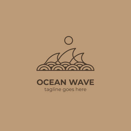 sea ocean wave logo with japanese asian circle wave pattern decoration icon symbol vector