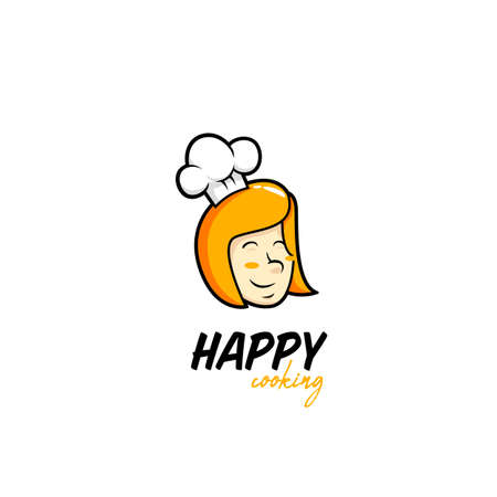 happy cooking kitchen logo with blonde yellow hair sweet female woman chef head icon illustration with chef hat