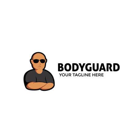 Bodyguard mascot logo with bald muscular character illustration wears black sun glass shade