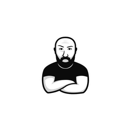 hipster bald bearded bodyguard logo icon cartoon mascot character illustration with thick black beard moustache and folding hand gesture
