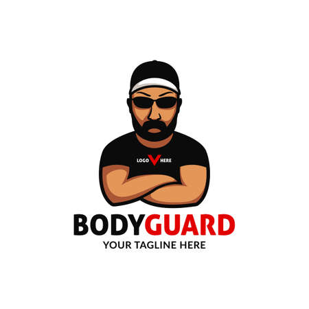 strong big bodyguard logo mascot character folding hand wears cap black shade sunglasses and tshirt with intimidating pose expression illustration Ilustração