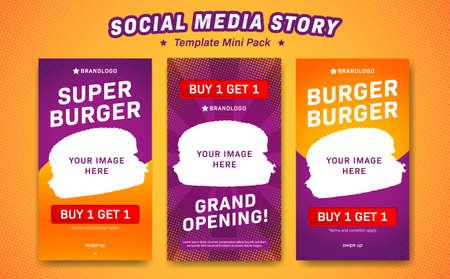 Plantilla de vector de historia de redes sociales tema de promoción de restaurante de comida de hamburguesa estilo de color divertido