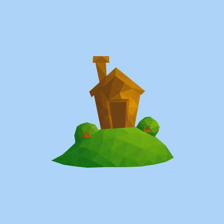 Funny small house on green hill with some bushes. Outdoor nature village landscape scene vector low poly illustration
