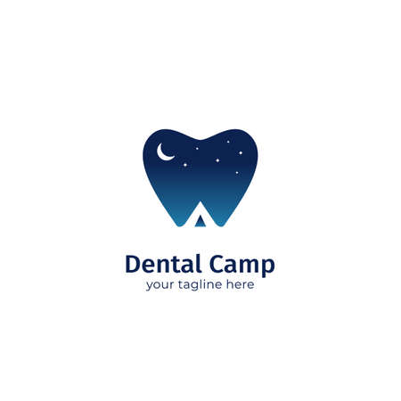 Dental camp, dentistry camping logo icon symbol with teeth icon nigh sky and tent camping silhouette